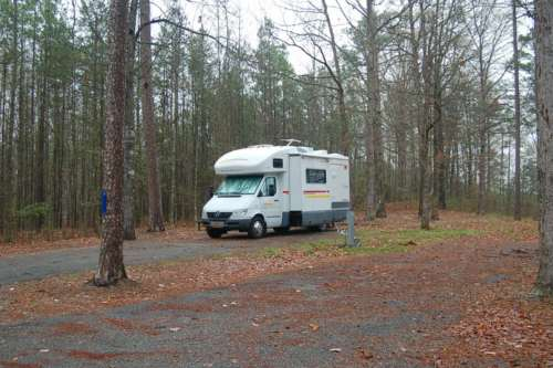 Our campsite at the crystal mine RV park - we chose a spot with high elevation.