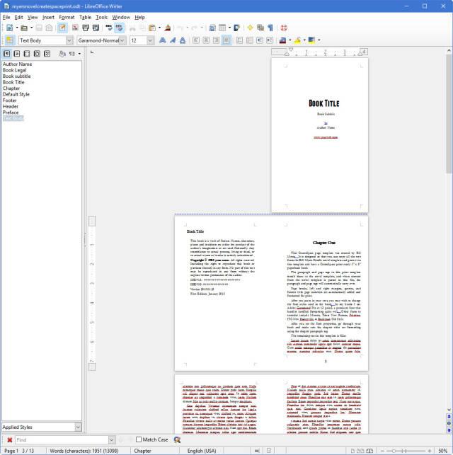 Print Template for Kindle Novels